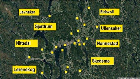 VEKSTKOMMUNER: En rekke Akershus-kommuner - med Ullensaker, Lørenskog, Nannestad, Skedsmo og Nittedal i spissen - gir et viktig bidrag til at fylket økte innbyggertallet med 10.029 i fjor og at Akershus dermed sto for en tredel av befolkningsveksten i Norge.