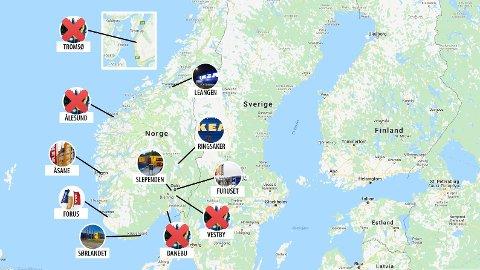 DROPPER FIRE VAREHUS: Kartet viser de sju Ikea-varehusene i Norge, i tillegg til de fire planlagte varehusene som nå droppes.