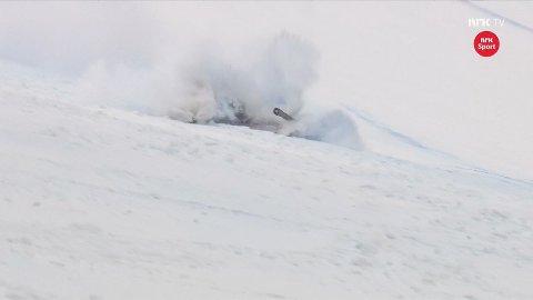 FALL: Adrian Smiseth Sejersted var uheldig og falt under søndagnes super-G-renn.