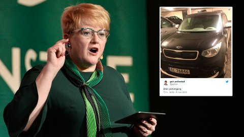 Elbilen til Sp-topp Geir Pollestad får oppmerksomhet under Venstres landsmøte.