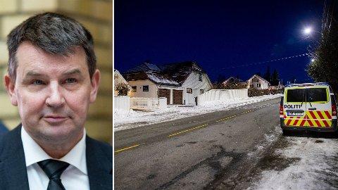 BILBRANN: Politiet holdt oppsyn med boligen til justisminister Tor Mikkel Wara etter at en bil som tilhører familien skal ha blitt påtent natt til søndag.