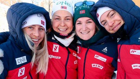 Tiril Eckhoff, Ingrid Landmark Tandrevold, Marte Olsbu Røiseland og Synnøve Solemdal stiller til start for Norge under tirsdagens 15 km i VM i Østersund.