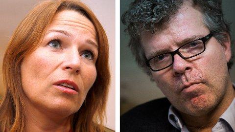 KRIG: Trine Lise Sundnes (t.v.) synes lite om Jon Hustads (t.h.) uttalelser om kvinners sykefravær.