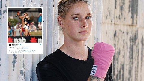 Fotballspiller Tayla Harris fikk massiv negativ oppmerksomhet fra nettroll da et bilde av henne ble lagt ut på Facebook-siden til en australsk TV-kanal.