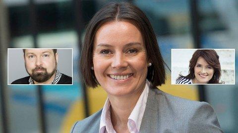UT DØRA: Audun Giske (t.v.) og Kjersti Mo (t.h.) er begge direktører i Egmont som slutter etter Nina Vesterby (i midten) tok over som toppsjef for noen måneder siden.