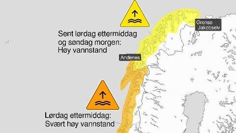 Svært høy vannstand kan gi oversvømmelser og ødeleggelser på infrastruktur og bygninger i strandsonen.