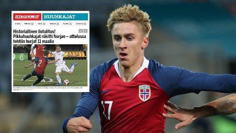 BRAKTAP: Dennis Tøset Johnsen og Norge fikk ingen god opplevelse mot Finland U21. Sjokkresultatet skapte overskrifter i Finland. Her fra en tidligere kamp. Foto: Geir Olsen / NTB scanpix