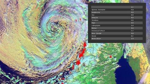 KRAFTIG LAVTRYKK: Satellittbildet fra Meteorologisk institutt lørdag viser lavtrykket som forårsaket mye vind, høy vannstand og høye bølger flere steder i Norge. Røde symboler er lyn langs kysten.