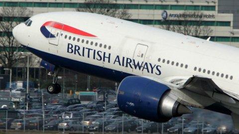 LANDET FEIL: Et fly fra selskapet British Airways landet i feil land mandag morgen.