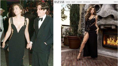 IKONISK ØYEBLIKK: 25 år etter at Elizabeth Hurley og Hugh Grant ble avbildet i det som i dag er blitt en ikonisk kjole, gjenskaper Hurley øyeblikket på nytt.