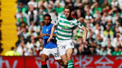 OLD FIRM: Kristoffer Ajer spilte hele kampen da Celtic slo Rangers 2-1 søndag.