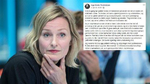 IRRITERT PÅ POLITIET: Inga Marte Thorkildsen er ikke fornøyd med måten Oslopolitiet bruker Twitter.