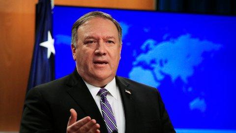 USAs utenriksminister Mike Pompeo vil ha en diplomatisk løsning på konflikten i Libya.