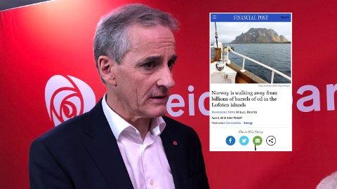 VEKKER OPPSIKT: Arbeiderpartiets leder Jonas Gahr Støre led nederlag om oljevirksomheten. Det skaper overskrifter i internasjonal presse (innfelt).