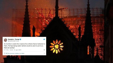 RÅD: Den amerikanske presidenten, Donald Trump kom med et råd om hvordan franskmennene skulle slukke brannen i Notre-Dame.