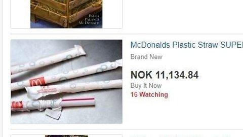 På Ebay.com får du nå kjøpt McDonalds-sugerør til den nette sum av 11.134 kroner.