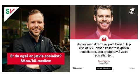 SV-leder Audun Lysbakken og Rødt-leder Bjørnar Moxnes får maks ut av Frp-leder Siv Jensens ordbruk.