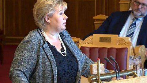 Statsminister Erna Solberg i Stortingets spørretime onsdag.