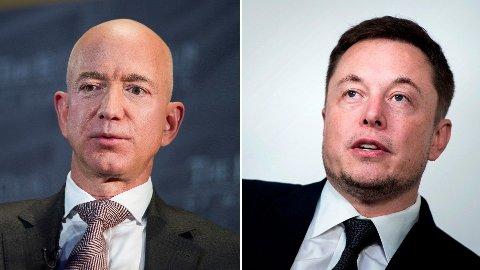 BLUE BALLS: Etter at Amazon-sjef jeff Bezos presenterte romsfartøyet Blue Moon, fikk han hard medfart av Tesla-grunnlegger Elon Musk.