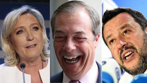 Marine Le Pen, Nigel Farage og Matteo Salvini har alle grunn til å smle etter nattens EU-valg.