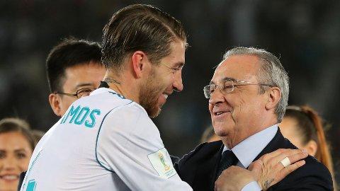 ISFRONT: Sergio Ramos og Florentino Pérez skal ikke være spesielt fornøyde med hverandre.