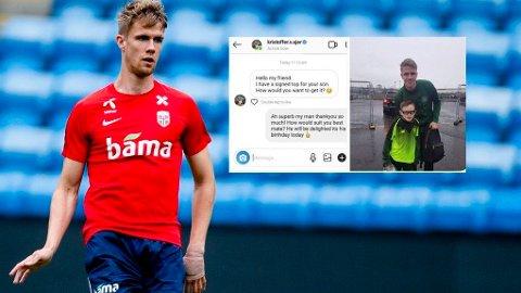 SENDTE MELDING: Kristoffer Ajer tok grep da en vakt beslagla drakten han ga til en ung Celtic-supporter.