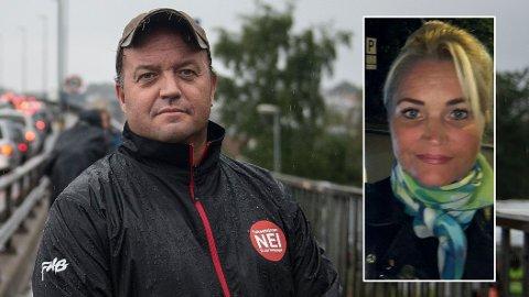 JUBLER: Bompengepartiets grunnlegger, Frode Myrhol og Cecilie Lyngby, som er nummer to på Oslo-lista til Folkeaksjonen Nei til mer bompenger, jubler over at veldig mange nordmenn vurderer å stemme på partiet deres.