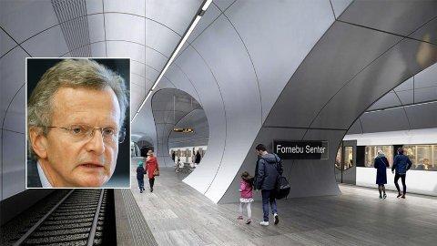 SKEPTISK: Tidligere Telenor-sjef Jon Fredrik Baksaas (innfelt) er usikker på om Fornebubanen blir ferdigstilt i hans levetid etter alle forsinkelsene.