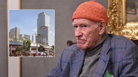NABOKONFLIKT: Olav Thon eier Gunerius-kvartalet like ved det som skal bli Oslos høyeste bygg. Han får ikke bygge i høyden, men det får naboen.