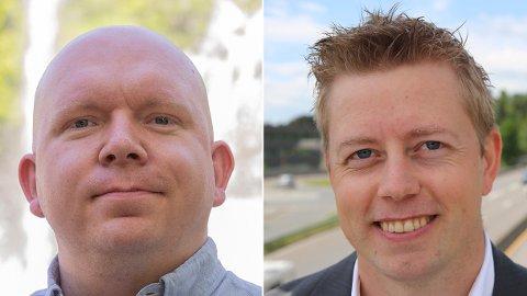 LOKALE TUNNEL-FORKJEMPERE: Lars Petter Solås (t.v.), bosatt på Lambertseter, og Tommy Skjervold, bosatt på Bøler, kjemper begge for gjennomslag for Manglerud-tunnelen i sør-øst i Oslo.
