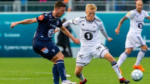 Kristiansunds Bendik Bye (t.v.) var mannen som utlignet til 2-2 for KBK i forrige sesongs seriekamp på Lerkendal. Her i duell med Rosenborgs Birger Meling.