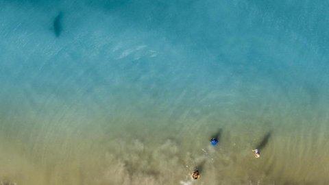 Dan Watson postet haibildet på Instagram, og la til følgende tekst: «Ser dere den mørke skyggen som er på vei rett mot stranden og de menneskene? Det var det jeg så da jeg denne helgen fløy med min Mavic 2 Pro, og forresten, tre av de menneskene er barna mine.»