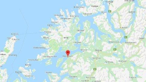 PÅKJØRT: Et lite barn skal ha blitt påkjørt ved Evertmoen i Brøstadbotn.