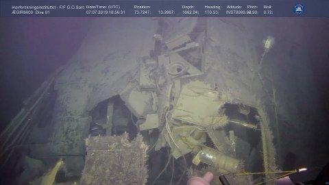 Havforskningsinstituttet bruker et fjernstyrt undervannsfartøy for å finne ut om det er radioaktiv lekkasje fra den sunkne russiske atomubåten Komsomolets i Barentshavet. Foto: Havforskningsinstituttet / Ægir 6000 / NTB scanpix