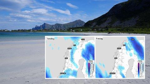 SOL I NORD: Nedbørsskyene (blå farge på kartet fra Meteorologisk institutt) må vike, og sola kommer for fullt i Nord-Norge inn mot helgen. Vårt arkivfoto er fra Lofoten. Der skinner sola onsdag morgen.