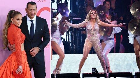 OVERRASKET FORLOVEDEN: Jennifer Lopez satte en konsert i Miami på pause for å feire bursdagen til forloveden Alex Rodriguez.