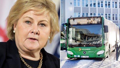 VIL HA ELBUSS: Erna Solbergs partifeller i Høyre valgte dieselbuss foran Erna Solbergs elbuss.