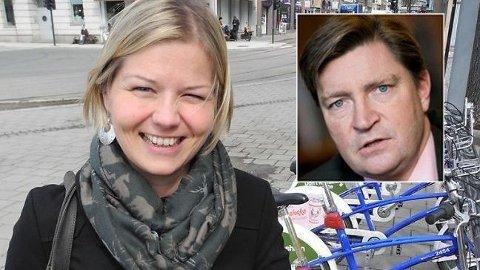 SYKKELSTRID: Venstres Guri Melby går hardt ut mot Christian Tybring-Gjeddes sykkelkritikk i Oslo. Hun tviler på at han og Frp vil få mye støtte for kampen mot sykkelsatsingen som rulles ut over hele byen.