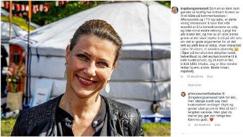 SVARER FANS OG KRITIKERE: Onsdag ettermiddag delte Märtha Louise at hun skal endre bruken av prinsessetittelen sin. Det har fått kommentarfeltet på prinsessens Instagram-konto til å koke - og prinsessen deltar selv i debatten. Foto: Skjermdump @princessmarthalouise/Robin Utrecht/ABACAPRESS.COM