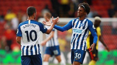 JUBEL: Florin Andone og Bernardo kunne juble etter 3-0 mot Watford.