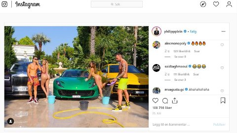 Dette er ett av bildene som Ferrari reagerer på. Bilene i bildet er Philipp Pleins private biler, mens skoene som mennene har på seg, er fra hans nye sko-kolleksjon.