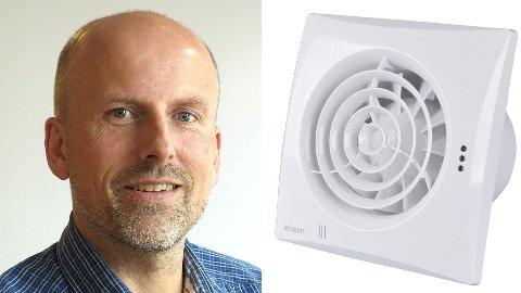 BRANNFARLIG: Knut Skogstad, administrerende direktør i Flexit, ber folk levere tilbake denne baderomsviften.