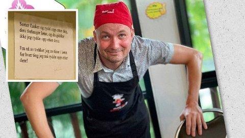 ULOVLIG: Skiltet som Jan Ove Paulsen hengt opp til sine ansatte er ulovlig, ifølge advokat.