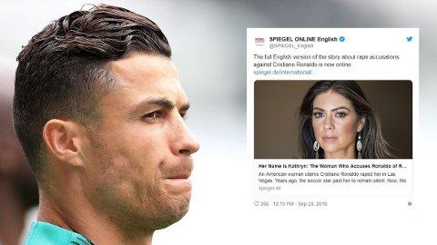 Kathryn Mayorga (34) voldtektsanklage ble først kjent gjennom en artikkel i Spiegel i 2018. Mayorga hevder hun ble voldtatt av Ronaldo i en hotellsuite i Las Vegas i 2009. Ronaldo ble ikke siktet, og i juli ble det kjent at saken droppes på grunn av manglende bevis.