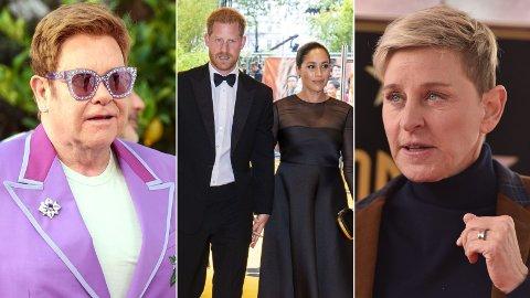 HARDT UT: Elton John og Ellen DeGeneres går hardt ut mot kritikerne og pressen, og forsvarer prins Harry og hertuginne Meghan.