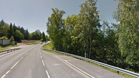 FUNNSTED: Den døde ble funnet i dette området, nedenfor riksvei 35 bare noen hundre meter fra kommunegrensen i Øvre Eiker.