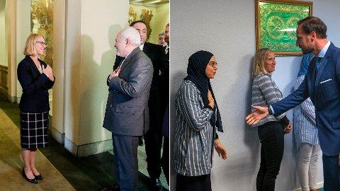 Til venstre blir Irans utenriksminister hilst velkommen til Stortinget. Til høyre blir kronprins Haakon hilst velkommen til moskeen i Bærum.