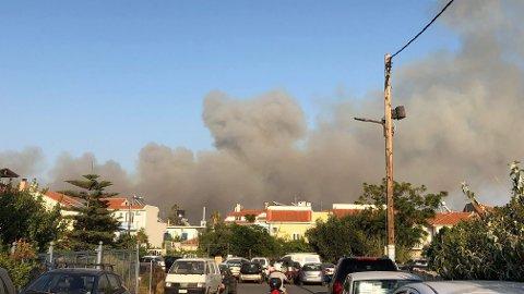 DRAMATISK: Brann på Samos.