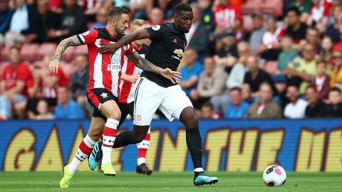 SKUFFET: Paul Pogba hadde en dårlig kamp for Manchester United mot Southampton.