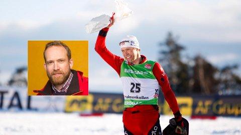 KOLLEGAER: NRK-kommentator Andreas Stabrun Smith er i sorg etter nyheten om Halvard Hanevolds død. Her er Hanevold avbildet etter sitt siste løp i Holmenkollen før han la opp i 2010.